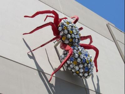 Downtown Art Metal Tarantula on Parking Garage by Gordon Huether