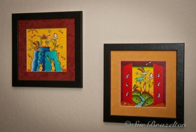 Two Brightly Colored Mexican Paintings Sister City Mexico